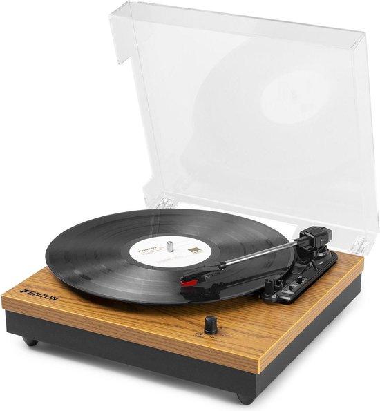 Platenspeler Bluetooth - Fenton RP112L stereo platenspeler met Bluetooth, ingebouwde speakers, auto stop - Geschikt voor alle vinyl platen - Lightwood