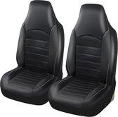 Stoelhoes Auto - Universele Autostoelhoezen - Bestuurder/Bijrijder Stoelhoes (Geen Achterbank) - Stijlvol - Zwart met grijze stiksels