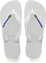 Havaianas Brasil Logo Unisex Slippers - White - Maat 41/42