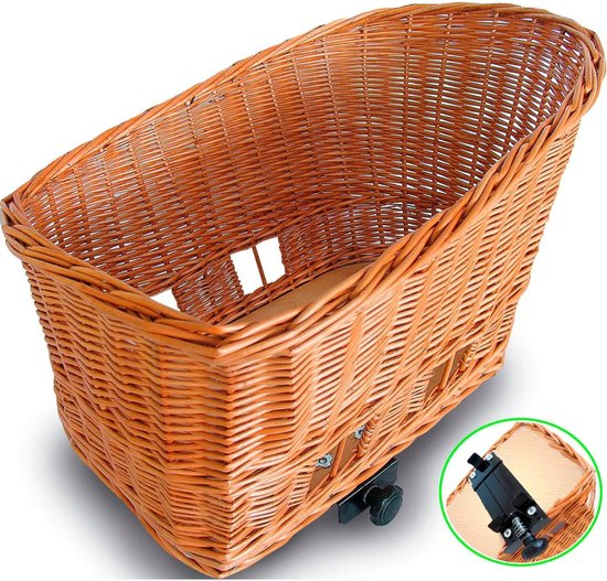 Basil Pasja Hondenfietsmand L - Achter - Riet - Inclusief Bevestigingssysteen - Large - Bruin - 50 cm