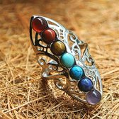Wellness-House   Verzilverde Chakra Ring   Ring Met Edelstenen   In Maat Verstelbaar   Chakras   Evenwicht   Balans   Zen   Dames