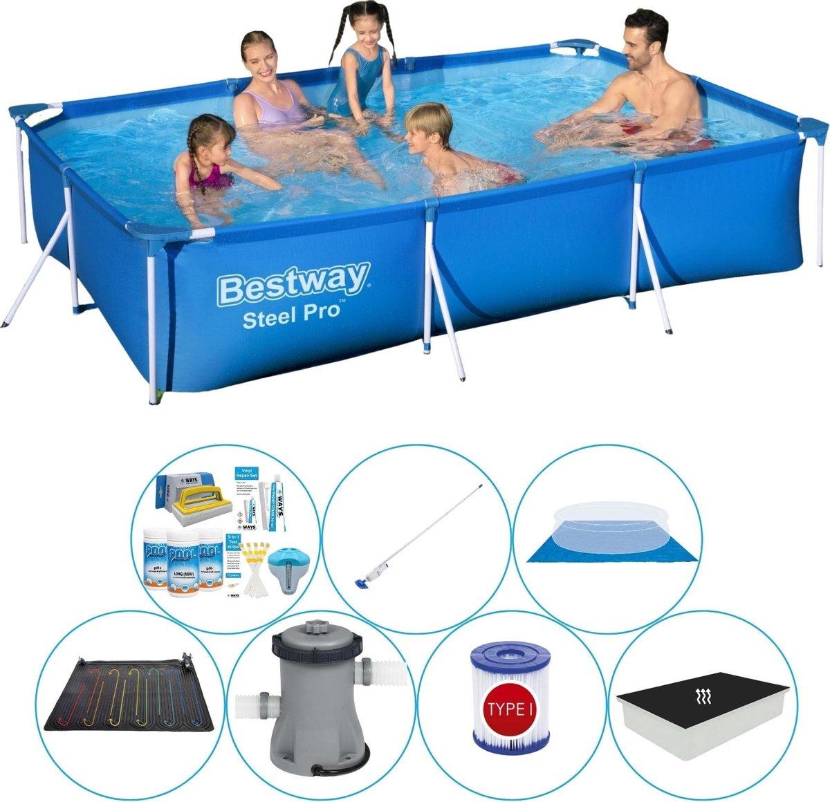 Bestway zwembad met filterpomp - 300 x 201 x 66 - inclusief chloorset