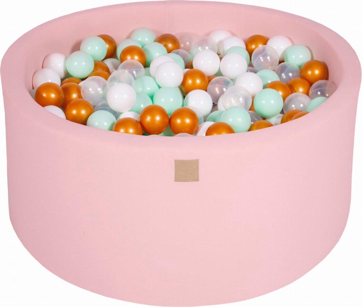 Ronde Ballenbak set incl 300 ballen 90x40cm - Licht Roze: Wit, Goud, Transparant, Mint