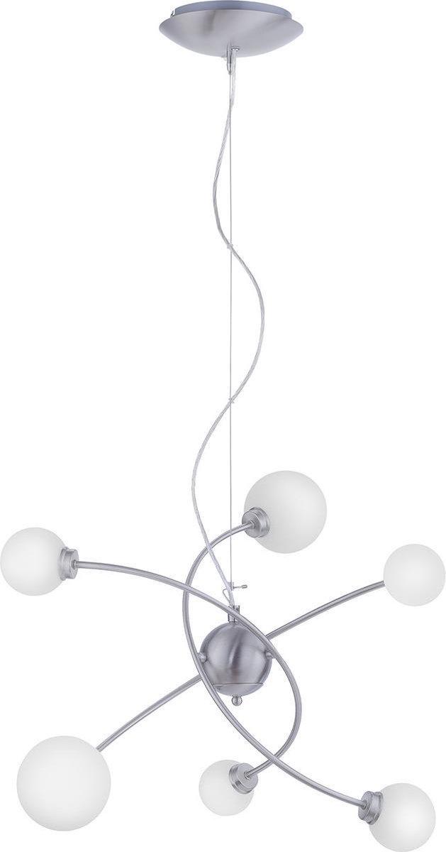 LED Hanglamp WiZ - Smart LED - Iona Dulpio - 18W - Aanpasbare Kleur - 6-lichts - Dimbaar - Rechthoek - Mat Nikkel - Aluminium