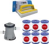 WAYS - Zwembad Onderhoud - Bestway Filterpomp 1249 L/h & 6 Bestway Filters Type I & WAYS Handy Scrubborstel
