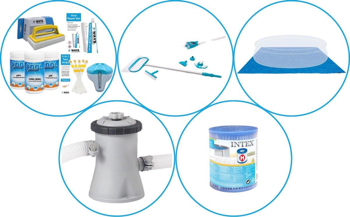 Zwembad Accessoirepakket 4-delig - WAYS Onderhoudspakket & Filterpomp (28602GS) + Filter & Onderhoudsset Deluxe & Grondzeil