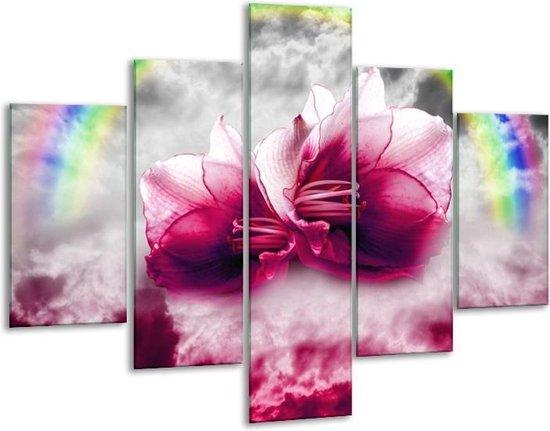 Glasschilderij Lelie   Roze, Grijs   100x70cm 5Luik   Foto print op Glas    F005868