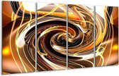 Glasschilderij Abstract | Geel, Bruin, Zwart | 160x80cm 4Luik | Foto print op Glas |  F000336