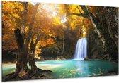 Canvas schilderij Waterval | Blauw, Geel, Grijs | 120x70cm 1Luik
