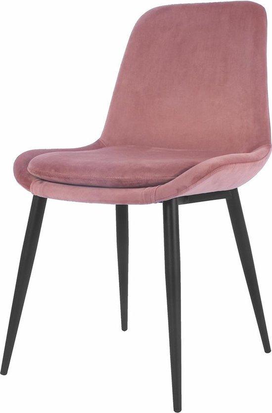 Nolon Amelie eetkamerstoel - Velvet - Metalen onderstel - Roze