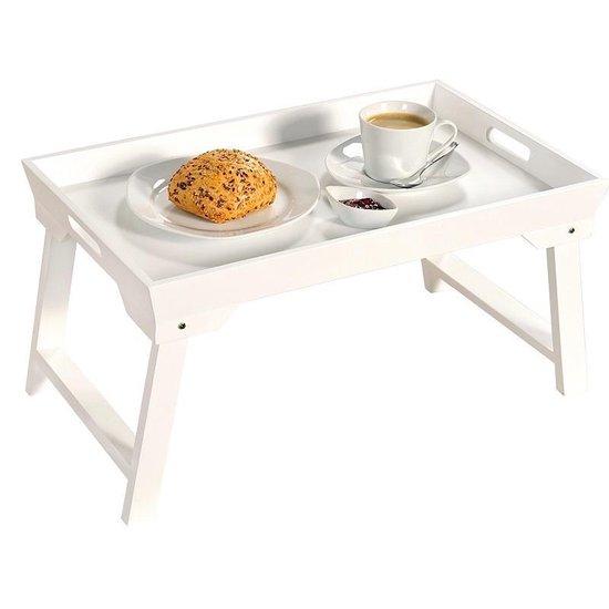 FSC® MDF inklapbare bedtafel met dienblad - Houten Bed tafel - Witte tafel - Bedienblad - Ontbijt dienblad - 52 x 32 x 27Cm - Wit