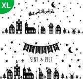 XL - Raamstickers sinterklaas & kerst - Herbruikbare Raamdecoratie - Kerst stickers - Kerstversiering - Zwart