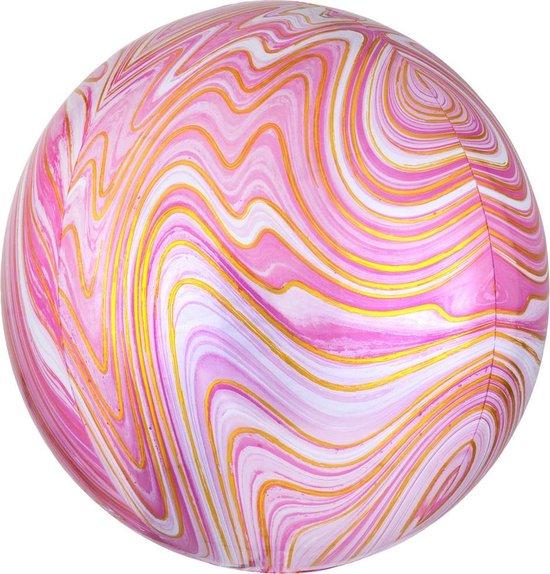 Folieballon Orb Marmer Roze - 38 centimeter