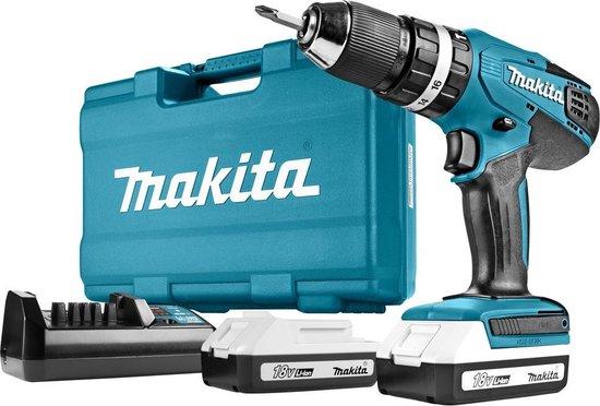 Makita HP457DWE Boor-/schroefmachine - 18V - Inclusief 2 Accu's en Lader
