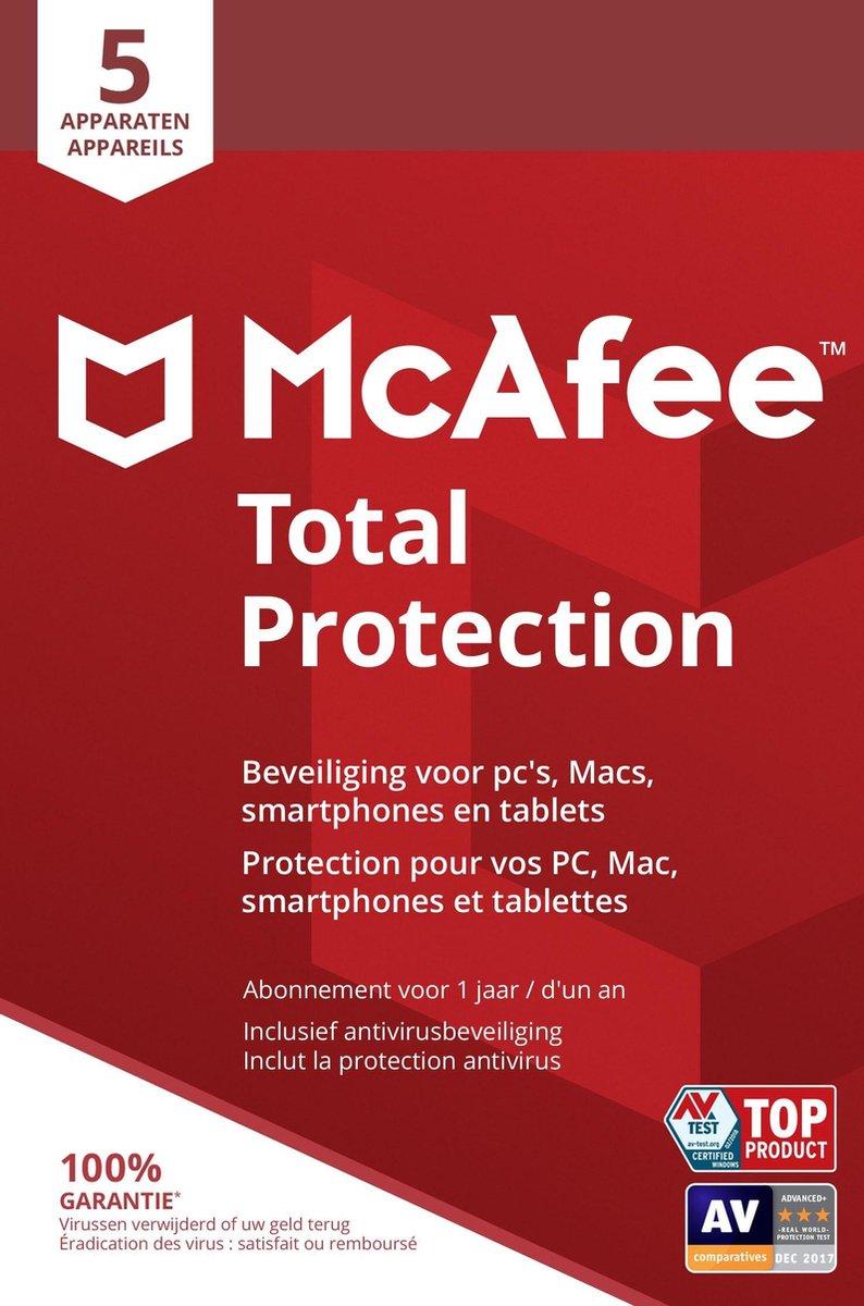 McAfee Total Protection - Multi-Device - 5 Apparaten - 1 Jaar - Nederlands / Frans - Windows / Mac
