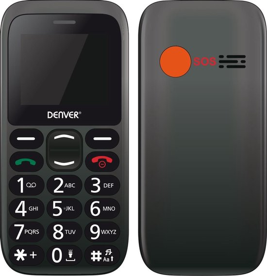 Denver BAS-18300M - GSM - Senioren telefoon - 2G - SOS knop - Oplaadstation - Simlock vrij