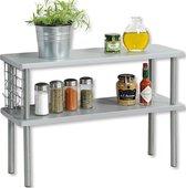 Keukenrek staand - FSC® Mdf - 2 Etages - Smal keukenrekje voor op aanrecht - Kruidenrek - 2 Laags Opbergrek - 55x20x38 Cm - Grijs