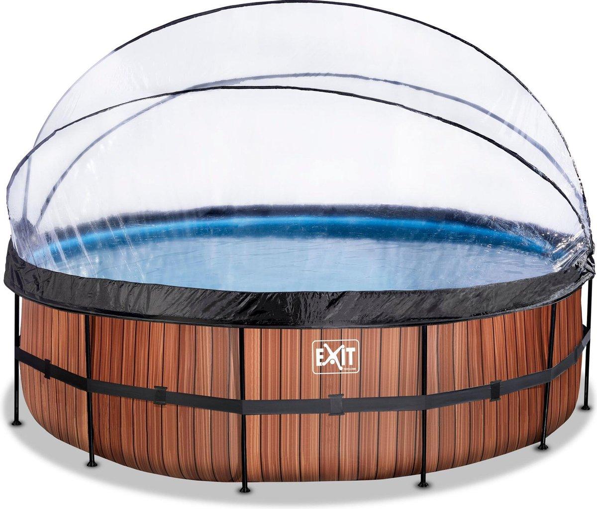 EXIT Wood zwembad ø488x122cm met overkapping en zandfilter- en warmtepomp - bruin