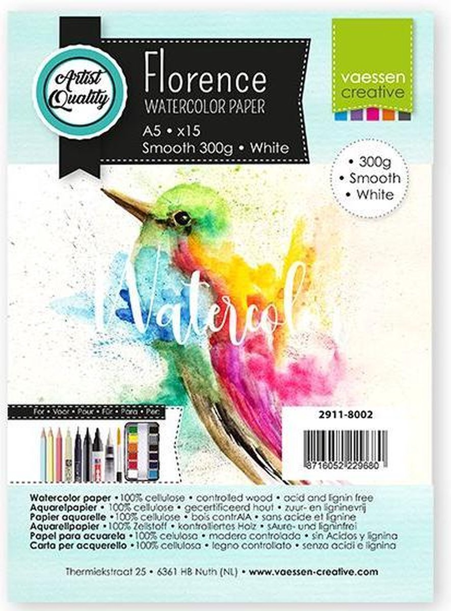 Florence Aquarelpapier A5 smooth White 300gr 15vellen