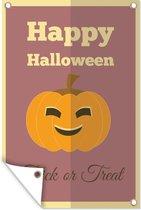 'Happy Halloween' met een pompoen tegen een paarse achtergrond tuinposter los doek 80x120 cm - Tuindoek / Buitencanvas / Schilderijen voor buiten (tuin decoratie)