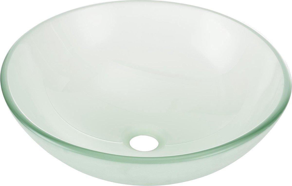 Wastafel wasbak waskom rond glas 42x42x14 cm transparant