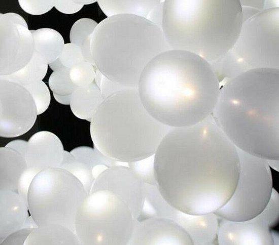 LED Ballonnen Wit 5 Stuks - 3 Standen - Verjaardag - Feestje - Halloween - Lucht en Helium