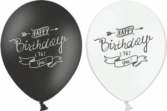 PARTYDECO - 6 zwart wit Happy Birthday ballonen - Decoratie > Ballonnen