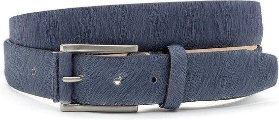 Grijsblauwe hair-on riem unisex 3.5 cm breed - Grijs - Sportief - Pony Skin - Taille: 115cm - Totale lengte riem: 130cm - Unisex riem