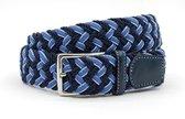 Mooie blauwe geweven riem 3.5 cm breed - Blauw - Casual - Leer / Textiel - Taille: 95cm - Totale lengte riem: 110cm - Unisex riem