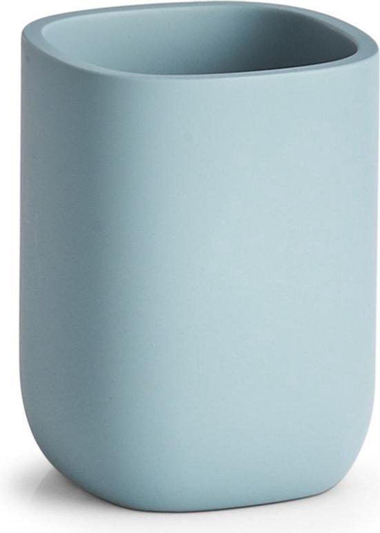 Badkamer beker blauw 10 cm - Zeller - Huishouding - Badkameraccessoires/benodigdheden - Tandenborstelhouders - Bekers voor in de badkamer