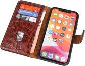 Lelycase Echt Lederen Booktype iPhone SE 2020 / 8 / 7 hoesje - Krokodil Bruin