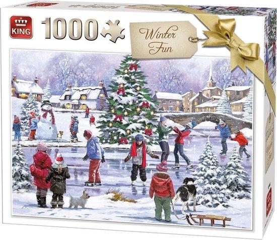 Afbeelding van Puzzel 1000 Stukjes Kerstpuzzel Winterpret - King - Legpuzzel (68 x 49 cm)