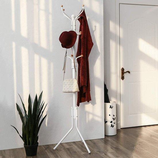 Design Kapstok met 12 Haken - Perfect in een Inkom hal of als Staande Hoekmeubel - 182 cm - Wit