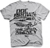 BACK TO THE FUTURE - T-Shirt Doc Brown Time Travel Agency - Grey (S)