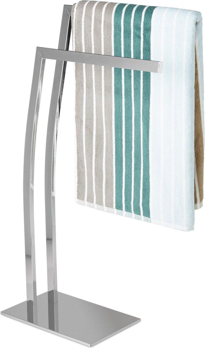relaxdays handdoekhouder vrijstaande handdoekstandaard 2 stangen roestvrij staal zilver