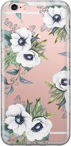 iPhone 6/6s transparant hoesje - Bloemenprint wit