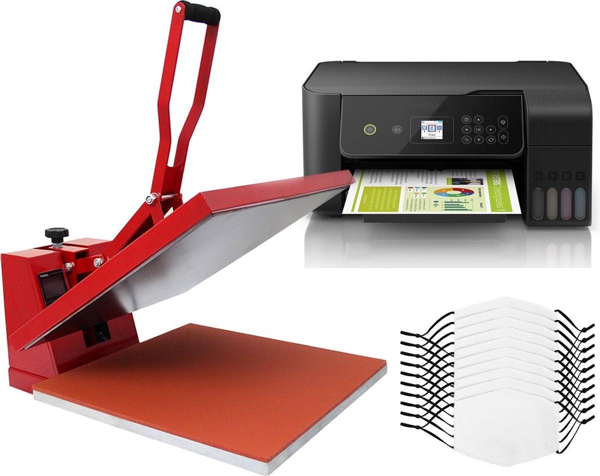 Bundel: 10 x sublimatie mondkapjes medium - 38 x 38 cm clam hittepers transferpers - eko tank printer - sublimatie bedrukken eigen ontwerp - pm2.5 filter vijf lagen - wasbaar hergebruiken hand wassen