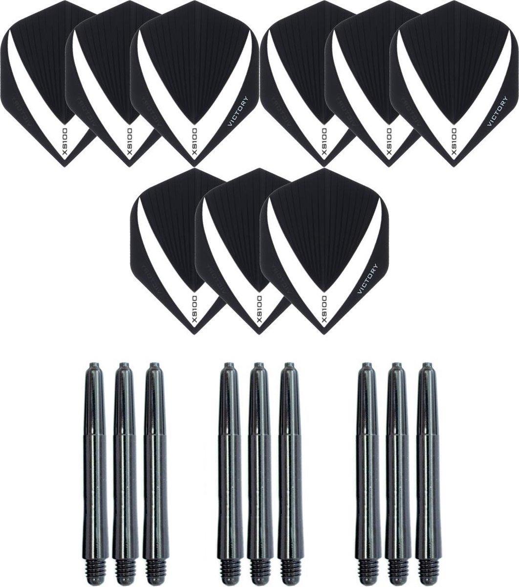 3 sets (9 stuks) Super Sterke - Wit/Clear - Vista-X - darts flights - inclusief 3 sets (9 stuks) - medium - darts shafts