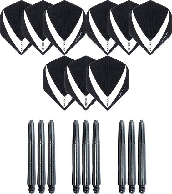 3 sets (9 stuks) Super Sterke – Wit/Clear - Vista-X – darts flights – inclusief 3 sets (9 stuks) - medium - darts shafts