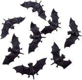 8x Plastic vleermuizen 10 cm - Halloween/horror decoratie/versiering - Vleermuis 8 stuks