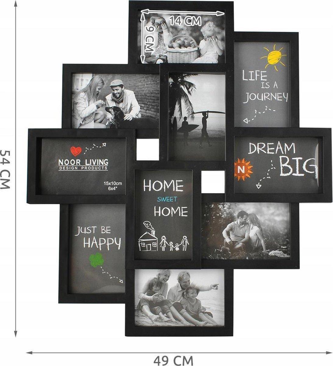 Fotolijst Collage - 10 Foto Grote Multi Wissellijst - Muur Fotocollage Lijst - Collagelijst 10x15 -