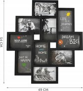 Fotolijst Collage - 10 Foto Grote Multi Wissellijst - Muur Fotocollage Lijst - Collagelijst 10x15 - Zwart
