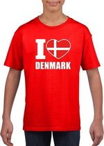Rood I love Denemarken fan shirt kinderen M (134-140)