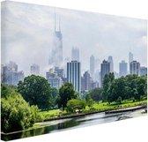 Groen park in Chicago Canvas 60x40 cm - Foto print op Canvas schilderij (Wanddecoratie woonkamer / slaapkamer) / Steden Canvas Schilderijen