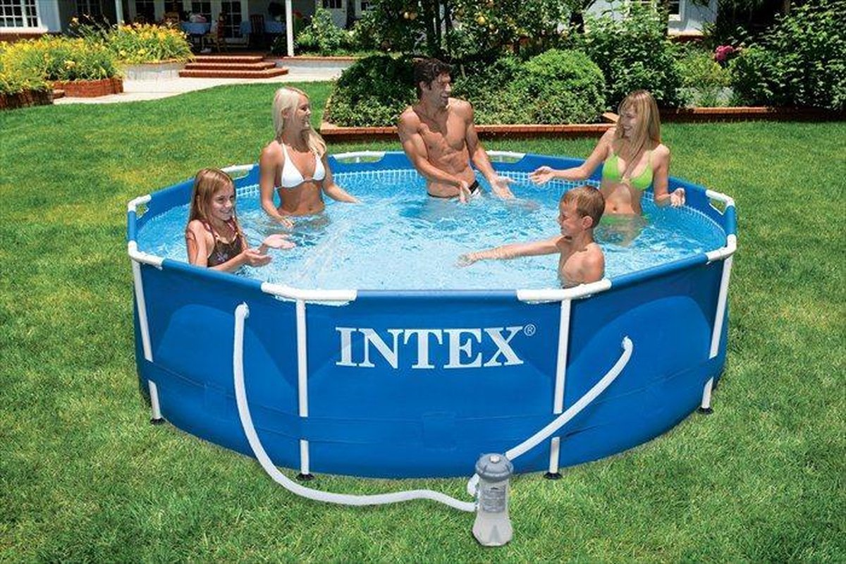 Intex Metal Frame zwembad 366 x 76 cm-Met 12-Volt filterpomp