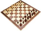 Schaakbord 40x40cm - Luxe houten editie - XL formaat - Met backgammon - Inklapbaar - Houten Schaakbord - Schaakspel - Schaakset - Schaken