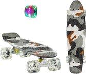 2Cycle Skateboard - LED Wielen - 22.5 inch - Camouflage Grijs - Penny Board - Diverse Kleuren