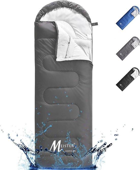 Meisterhome® mummy slaapzak kamperen antraciet ca. 220 x 75 cm met draagtas
