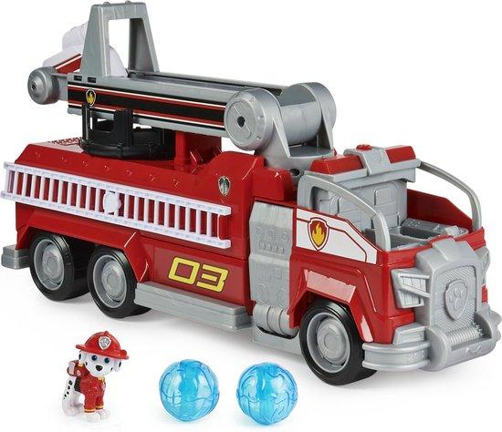 PAW Patrol De Film, Marshall Transformerende Brandweerwagen met uitschuifbare ladder, licht en geluid en verzamelfiguur, speelgoed voor kinderen vanaf 3 jr.