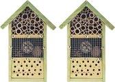 2x stuks doe-het-zelf insectenhotel/insecten nestkast 26 cm - Vlinderhuis/bijenhuis/wespenhotel